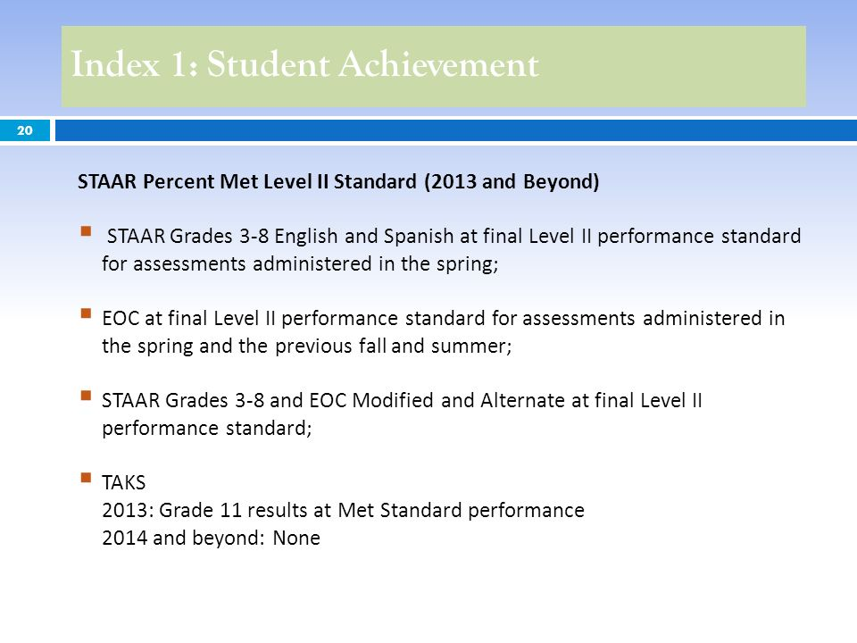 Index 1: Student Achievement 20 STAAR Percent Met Level II Standard (2013 and Beyond) STAAR Grades 3-8 English and Spanish at final Level II performan