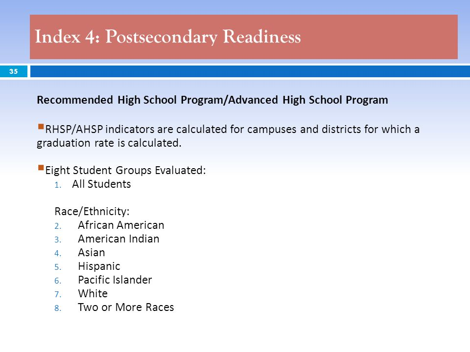 35 Recommended High School Program/Advanced High School Program RHSP/AHSP indicators are calculated for campuses and districts for which a graduation