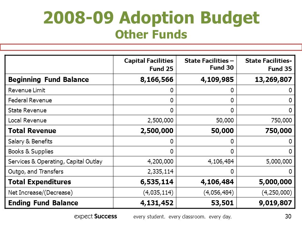 every student. every classroom. every day. 30 2008-09 Adoption Budget Other Funds Capital Facilities Fund 25 State Facilities – Fund 30 State Faciliti