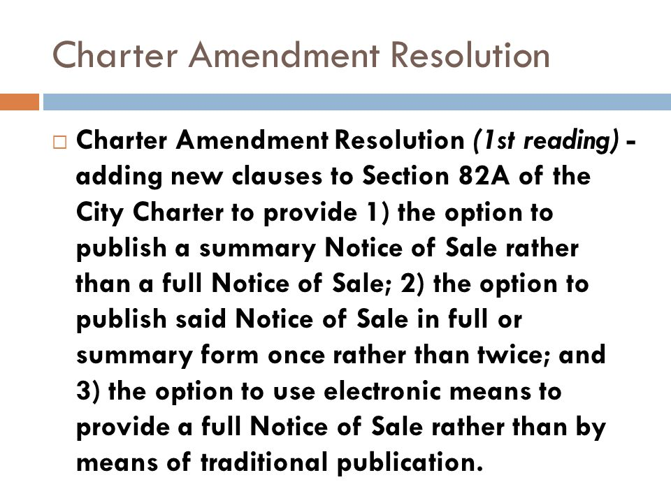 Charter Amendment Resolution Charter Amendment Resolution (1st reading) - adding new clauses to Section 82A of the City Charter to provide 1) the opti