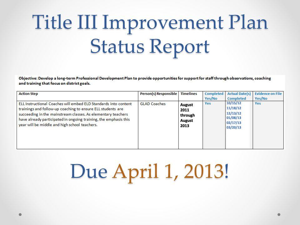 Title III Improvement Plan Status Report Due April 1, 2013!
