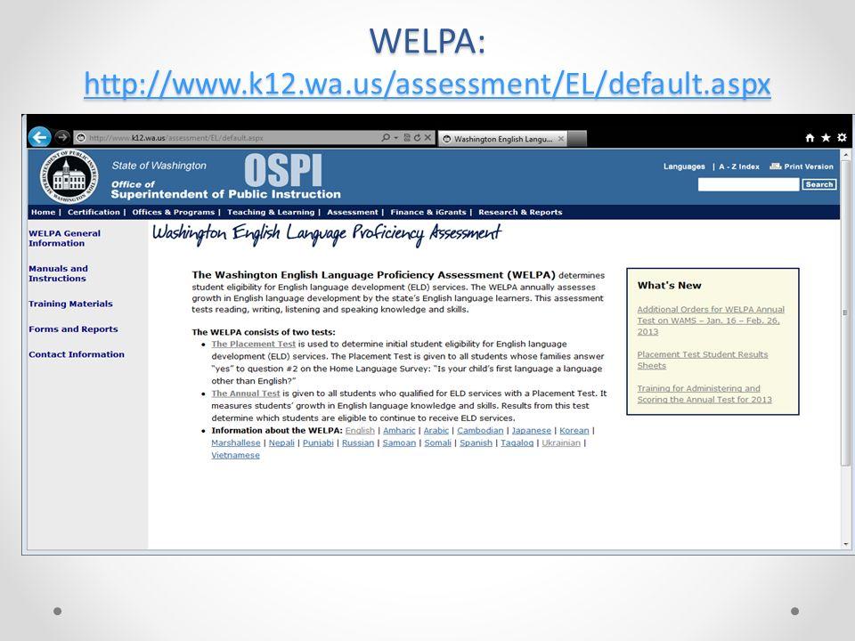 WELPA: http://www.k12.wa.us/assessment/EL/default.aspx http://www.k12.wa.us/assessment/EL/default.aspx