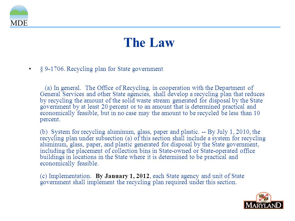 The Law § Recycling plan for State government (a) In general.