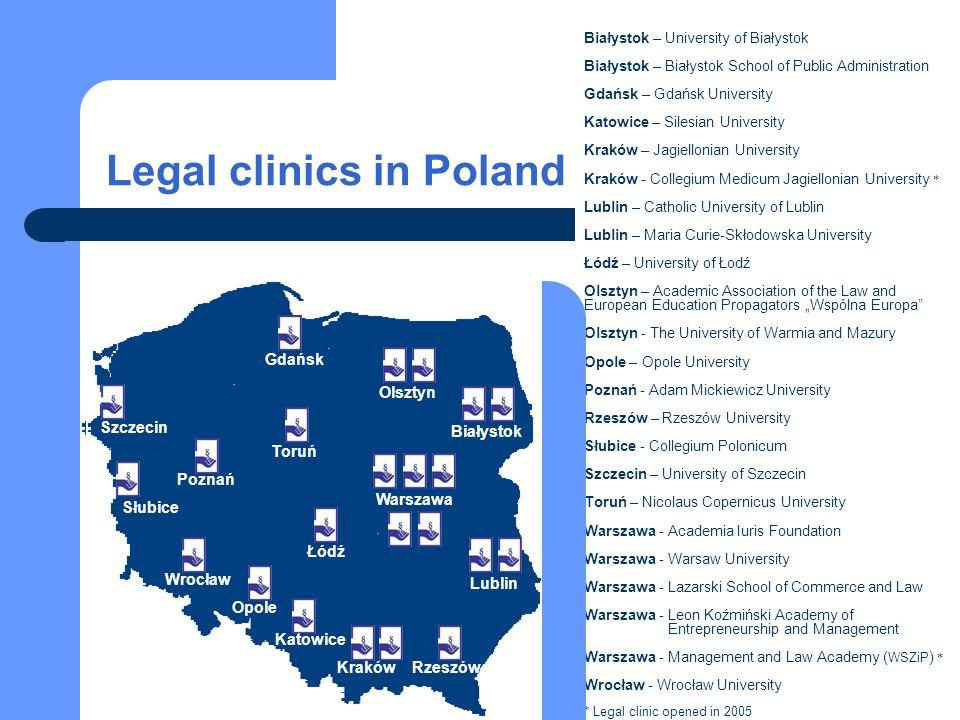 Legal clinics in Poland Białystok – University of Białystok Białystok – Białystok School of Public Administration Gdańsk – Gdańsk University Katowice