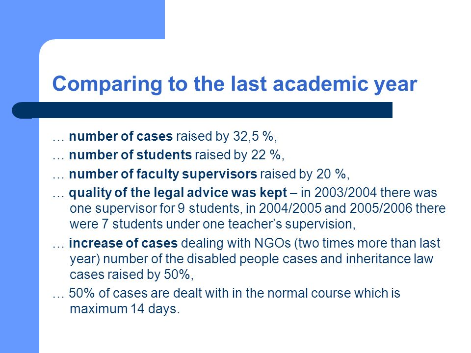 Comparing to the last academic year … number of cases raised by 32,5 %, … number of students raised by 22 %, … number of faculty supervisors raised by 20 %, … quality of the legal advice was kept – in 2003/2004 there was one supervisor for 9 students, in 2004/2005 and 2005/2006 there were 7 students under one teachers supervision, … increase of cases dealing with NGOs (two times more than last year) number of the disabled people cases and inheritance law cases raised by 50%, … 50% of cases are dealt with in the normal course which is maximum 14 days.