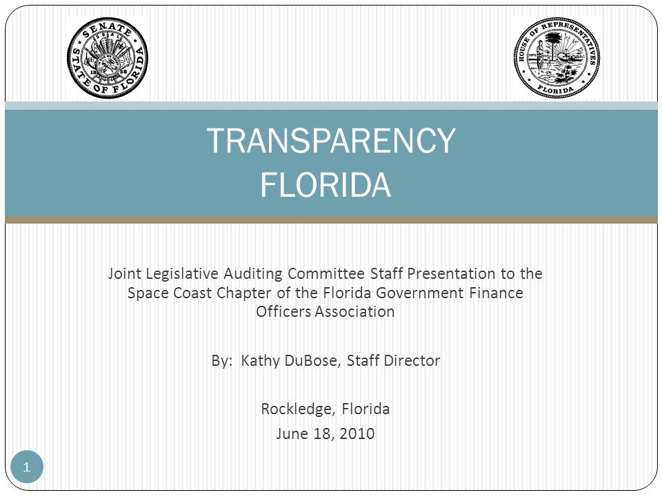 Joint Legislative Auditing Committee Staff Presentation to the Space Coast Chapter of the Florida Government Finance Officers Association By: Kathy Du