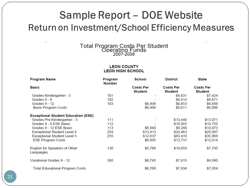 Sample Report – DOE Website Return on Investment/School Efficiency Measures 21