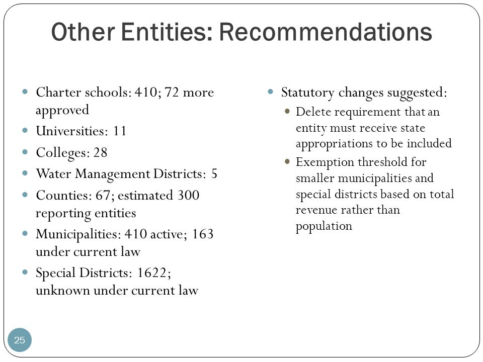 Other Entities: Recommendations 25 Charter schools: 410; 72 more approved Universities: 11 Colleges: 28 Water Management Districts: 5 Counties: 67; es