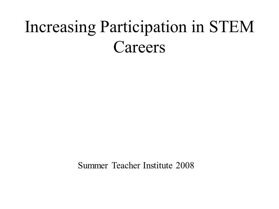 Increasing Participation in STEM Careers Summer Teacher Institute 2008