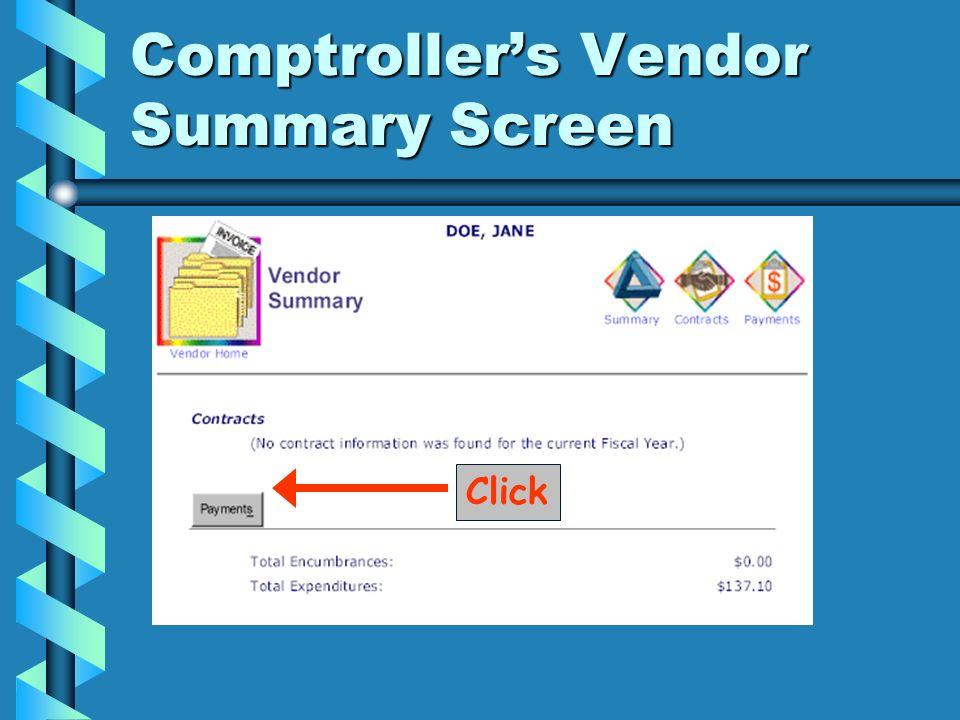 Click Comptrollers Vendor Summary Screen