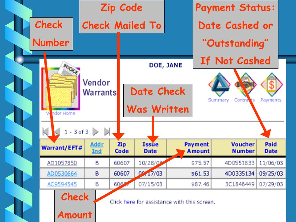 Check Number Zip Code Check Mailed To Date Check Was Written Check Amount Payment Status: Date Cashed or Outstanding If Not Cashed