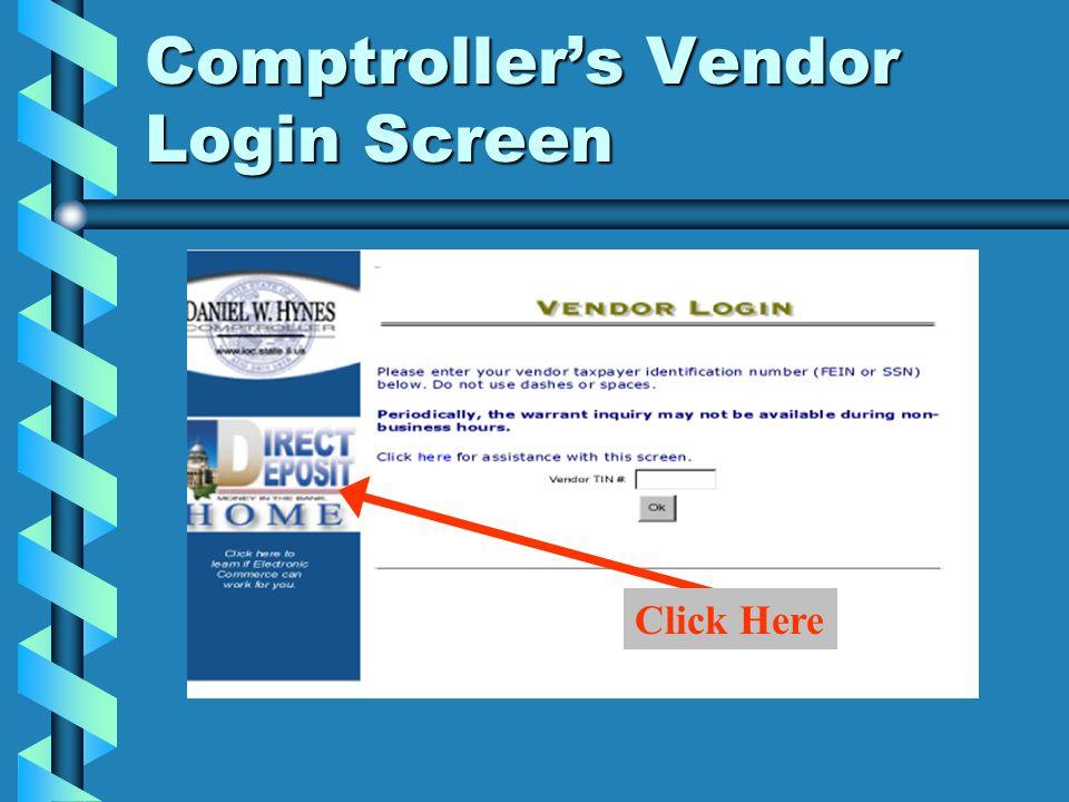 Comptrollers Vendor Login Screen Click Here