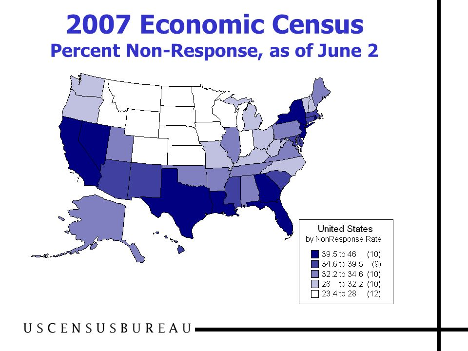 2007 Economic Census Percent Non-Response, as of June 2