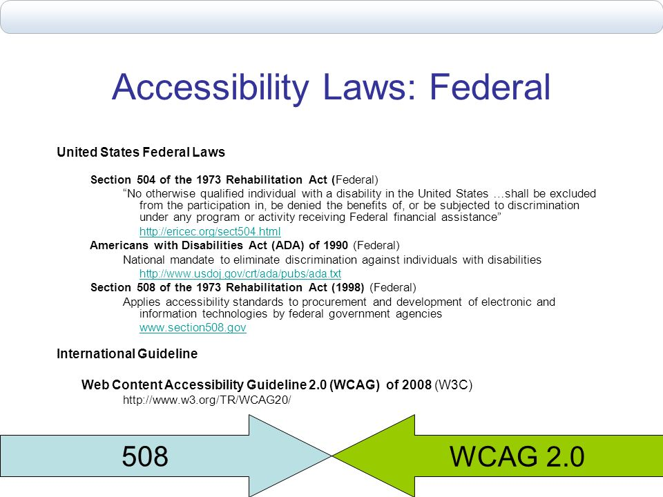 Accessibility Laws: Federal United States Federal Laws Section 504 of the 1973 Rehabilitation Act (Federal) No otherwise qualified individual with a d