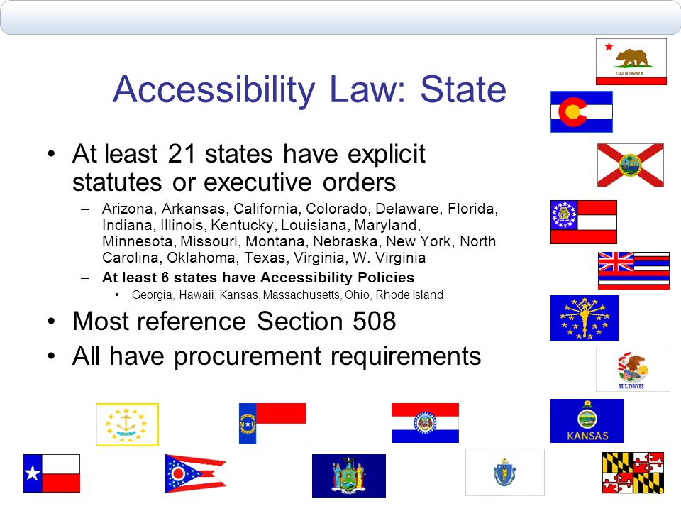 Accessibility Law: State At least 21 states have explicit statutes or executive orders –Arizona, Arkansas, California, Colorado, Delaware, Florida, In