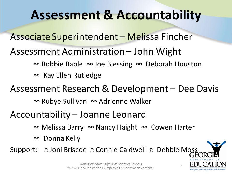 Assessment & Accountability Associate Superintendent – Melissa Fincher Assessment Administration – John Wight Bobbie Bable Joe Blessing Deborah Housto