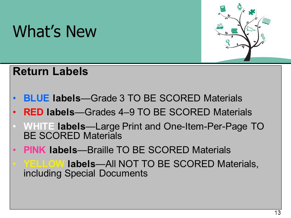 13 Whats New Return Labels BLUE labelsGrade 3 TO BE SCORED Materials RED labelsGrades 4–9 TO BE SCORED Materials WHITE labelsLarge Print and One-Item-