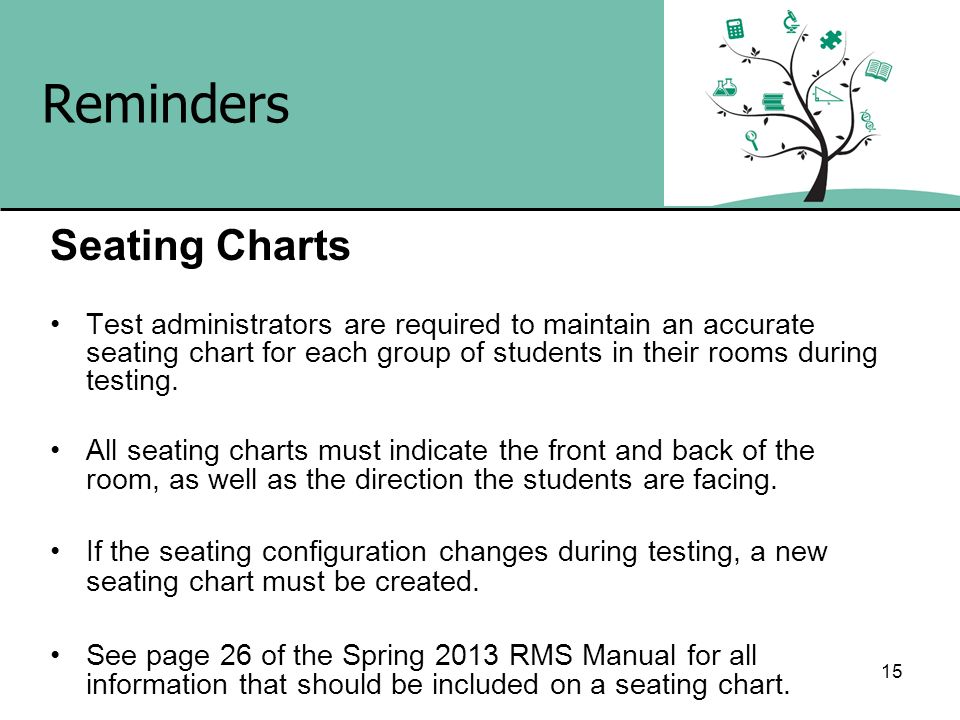 15 Reminders Seating Charts Test administrators are required to maintain an accurate seating chart for each group of students in their rooms during te