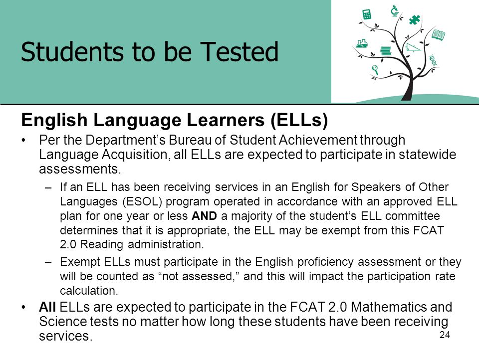 24 Students to be Tested English Language Learners (ELLs) Per the Departments Bureau of Student Achievement through Language Acquisition, all ELLs are