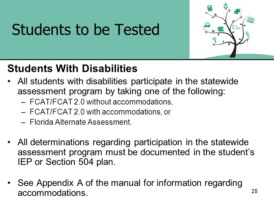 25 Students to be Tested Students With Disabilities All students with disabilities participate in the statewide assessment program by taking one of th
