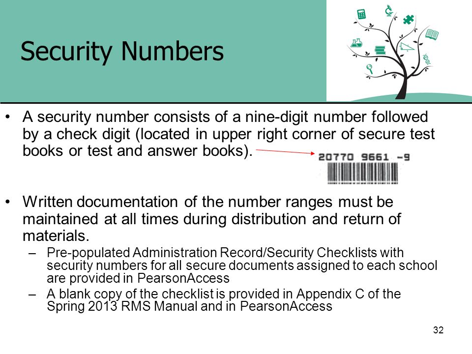 32 Security Numbers A security number consists of a nine-digit number followed by a check digit (located in upper right corner of secure test books or
