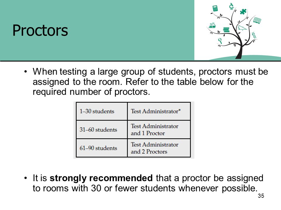 35 Proctors When testing a large group of students, proctors must be assigned to the room. Refer to the table below for the required number of proctor