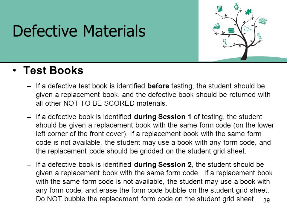 Defective Materials Test Books –If a defective test book is identified before testing, the student should be given a replacement book, and the defecti