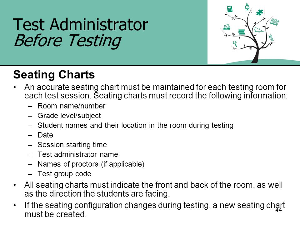 44 Test Administrator Before Testing Seating Charts An accurate seating chart must be maintained for each testing room for each test session. Seating