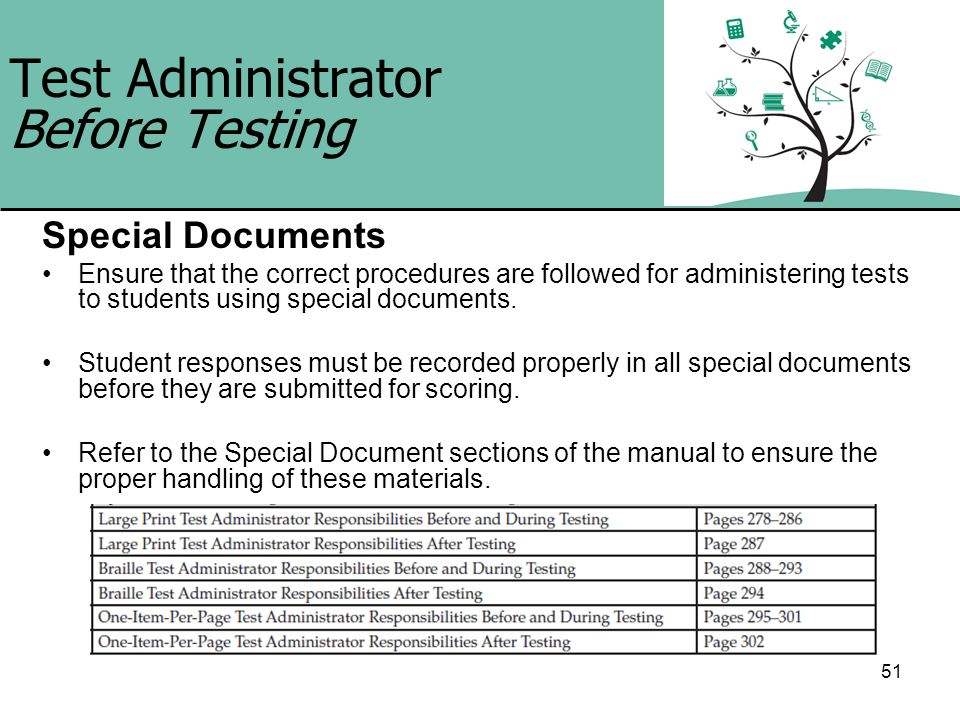 51 Test Administrator Before Testing Special Documents Ensure that the correct procedures are followed for administering tests to students using speci