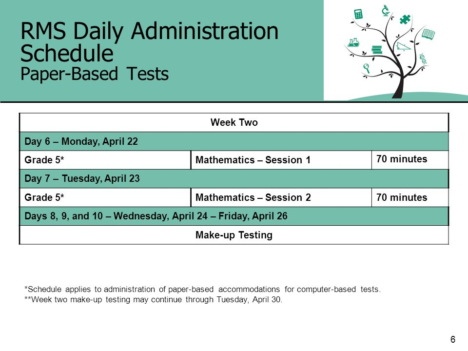 6 RMS Daily Administration Schedule Paper-Based Tests Week Two Day 6 – Monday, April 22 Grade 5*Mathematics – Session 1 70 minutes Day 7 – Tuesday, Ap