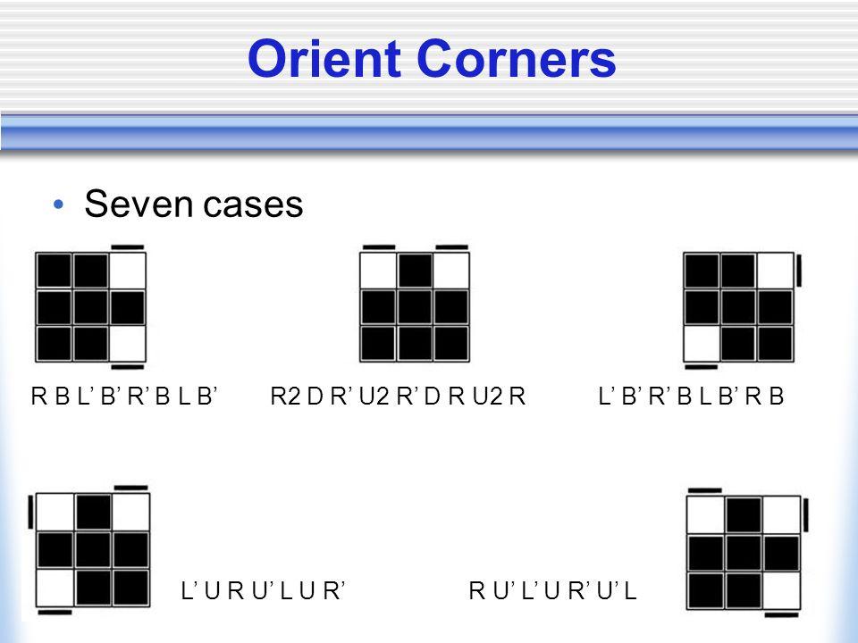 Orient Corners Seven cases R B L B R B L B R2 D R U2 R D R U2 R L B R B L B R B L U R U L U R R U L U R U L
