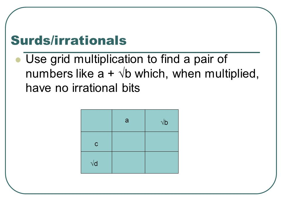 Surds/irrationals Use grid multiplication to find a pair of numbers like a + b which, when multiplied, have no irrational bits c d a b