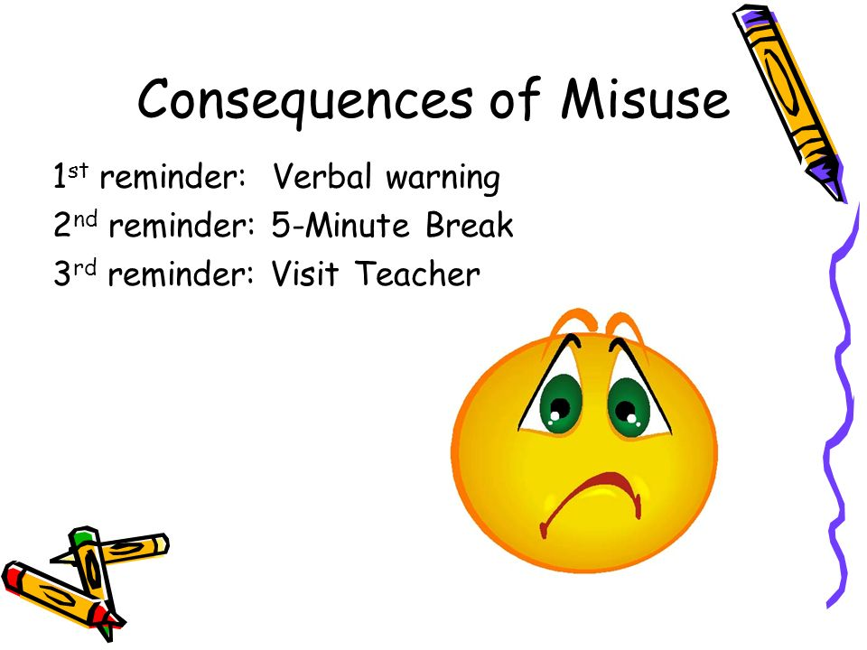 Consequences of Misuse 1 st reminder: Verbal warning 2 nd reminder: 5-Minute Break 3 rd reminder: Visit Teacher