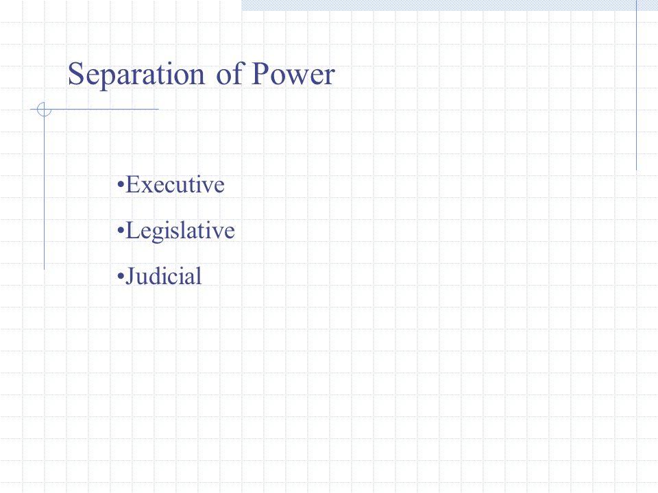 Separation of Power Executive Legislative Judicial