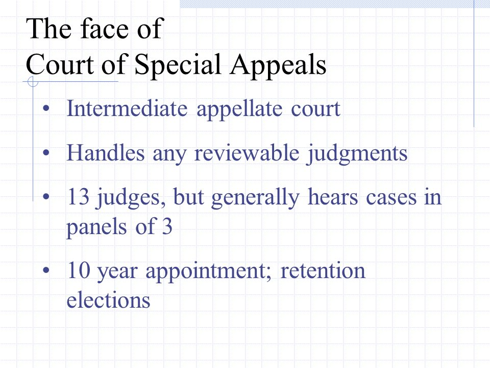 The face of Court of Special Appeals Intermediate appellate court Handles any reviewable judgments 13 judges, but generally hears cases in panels of 3 10 year appointment; retention elections