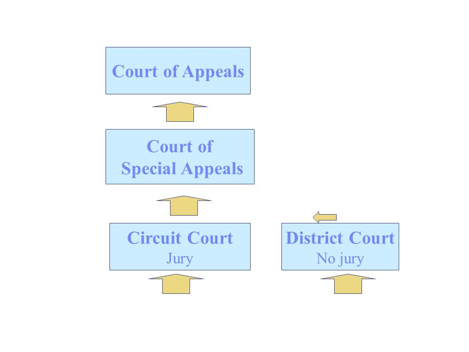 Circuit Court Jury District Court No jury Court of Appeals Court of Special Appeals