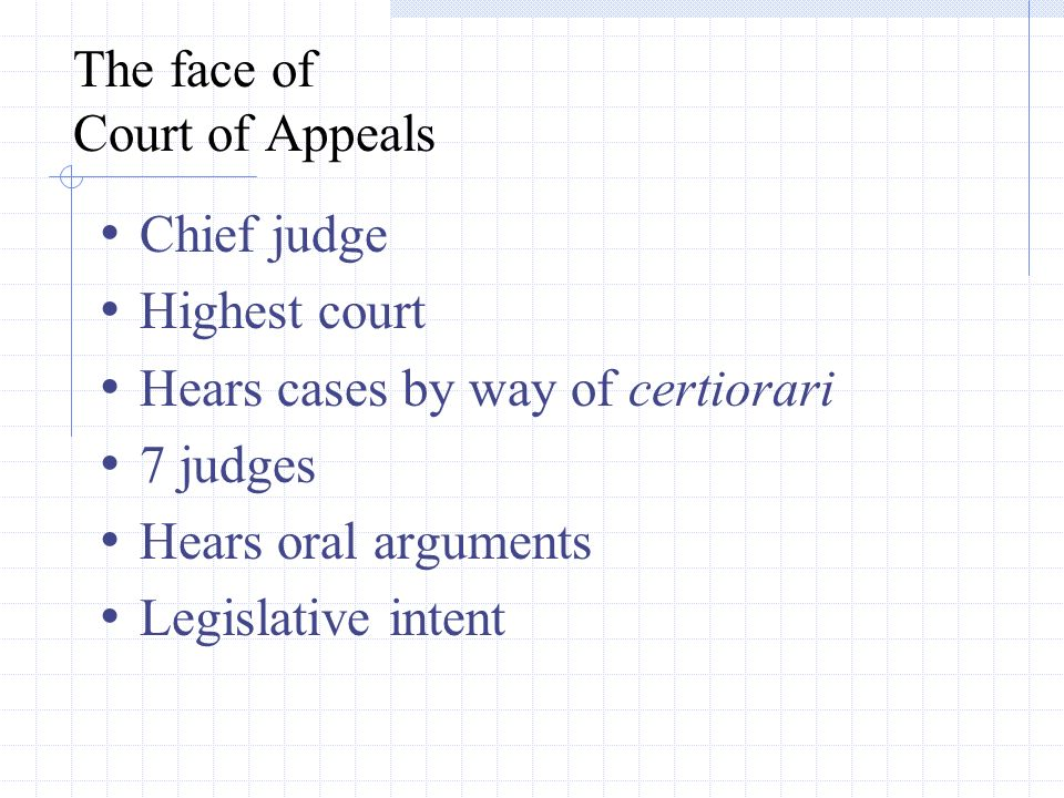 The face of Court of Appeals Chief judge Highest court Hears cases by way of certiorari 7 judges Hears oral arguments Legislative intent