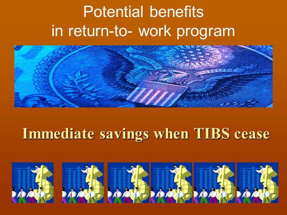 Immediate savings when TIBS cease Potential benefits in return-to- work program