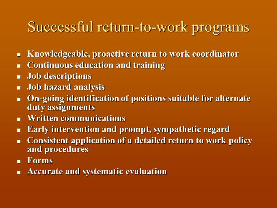 Successful return-to-work programs Knowledgeable, proactive return to work coordinator Knowledgeable, proactive return to work coordinator Continuous