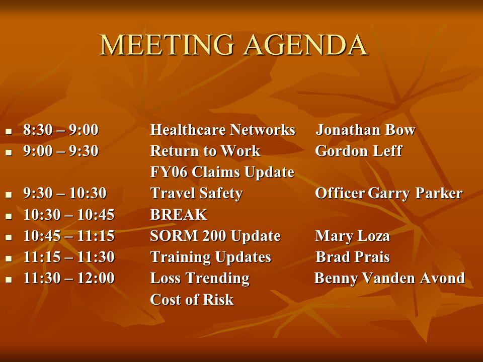 MEETING AGENDA 8:30 – 9:00Healthcare Networks Jonathan Bow 8:30 – 9:00Healthcare Networks Jonathan Bow 9:00 – 9:30 Return to Work Gordon Leff 9:00 – 9