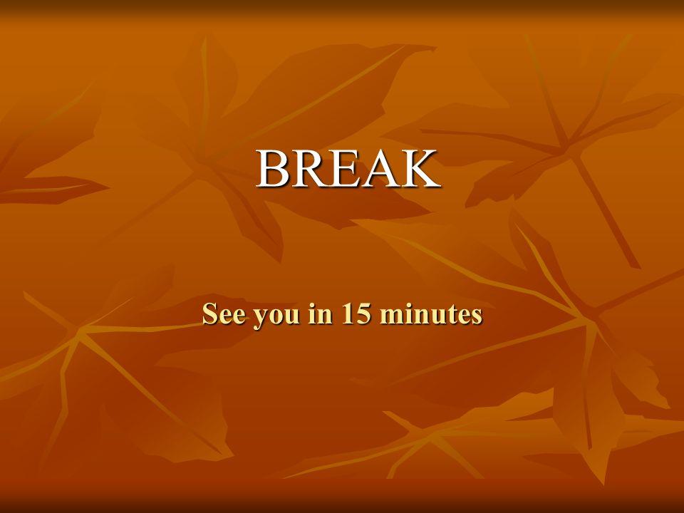 BREAK See you in 15 minutes
