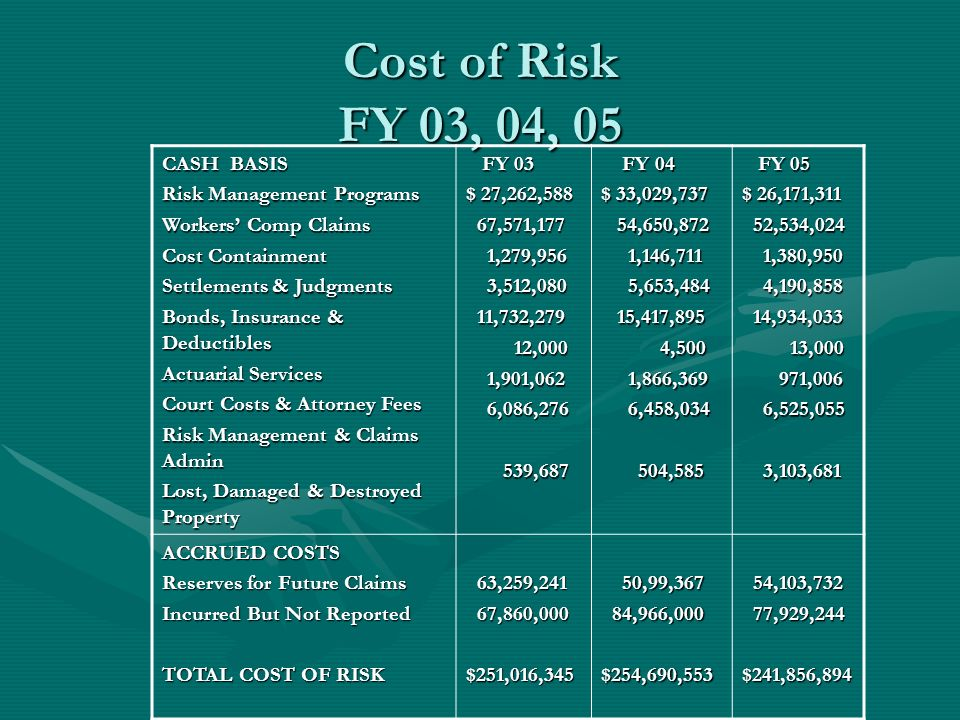 Cost of Risk FY 03, 04, 05 CASH BASIS Risk Management Programs Workers Comp Claims Cost Containment Settlements & Judgments Bonds, Insurance & Deducti