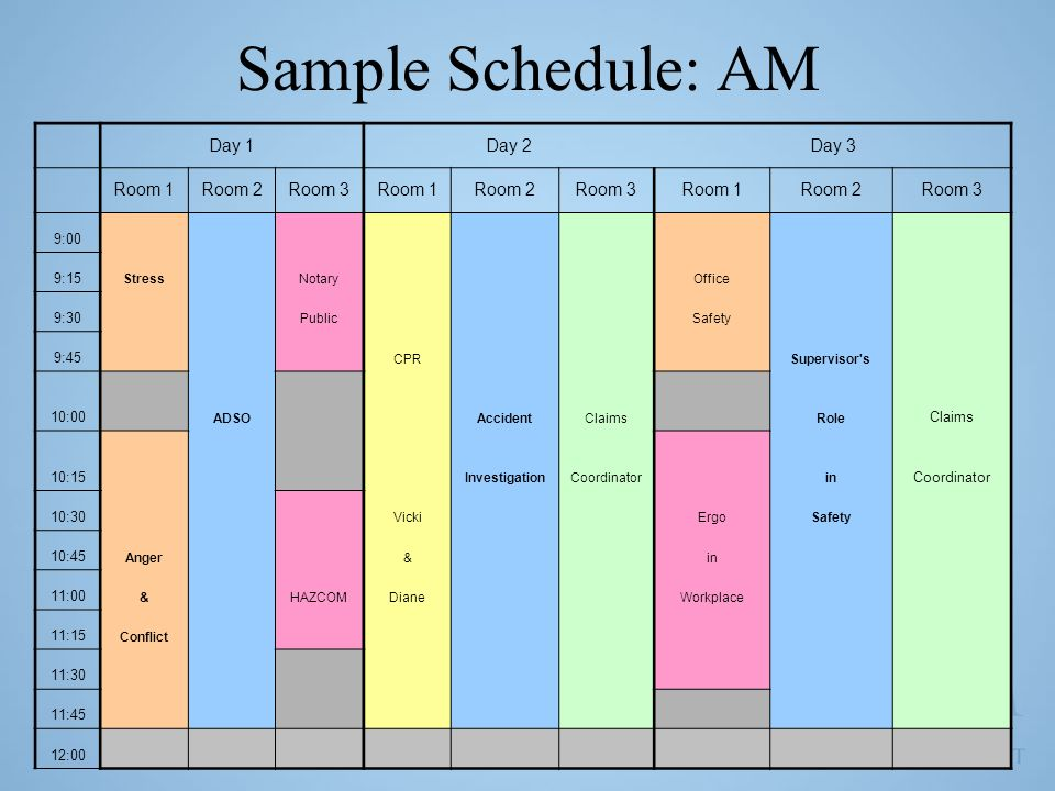 Sample Schedule: AM Day 1Day 2Day 3 Room 1Room 2Room 3Room 1Room 2Room 3Room 1Room 2Room 3 9:00 9:15 Stress Notary Office 9:30 Public Safety 9:45 CPR