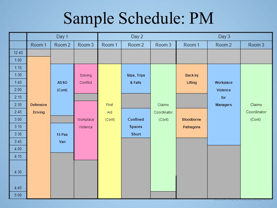Sample Schedule: PM Day 1Day 2Day 3 Room 1Room 2Room 3Room 1Room 2Room 3Room 1Room 2Room 3 12:45 1:00 1:15 1:30 Solving Slips, Trips Back Inj 1:45 ADS