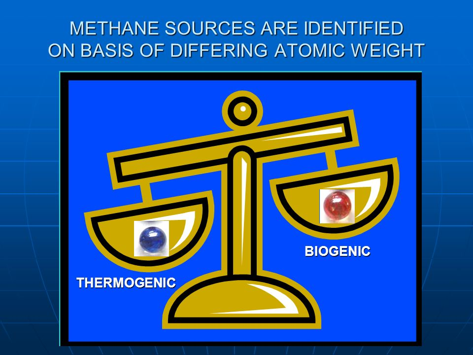 METHANE SOURCES ARE IDENTIFIED ON BASIS OF DIFFERING ATOMIC WEIGHT THERMOGENIC BIOGENIC