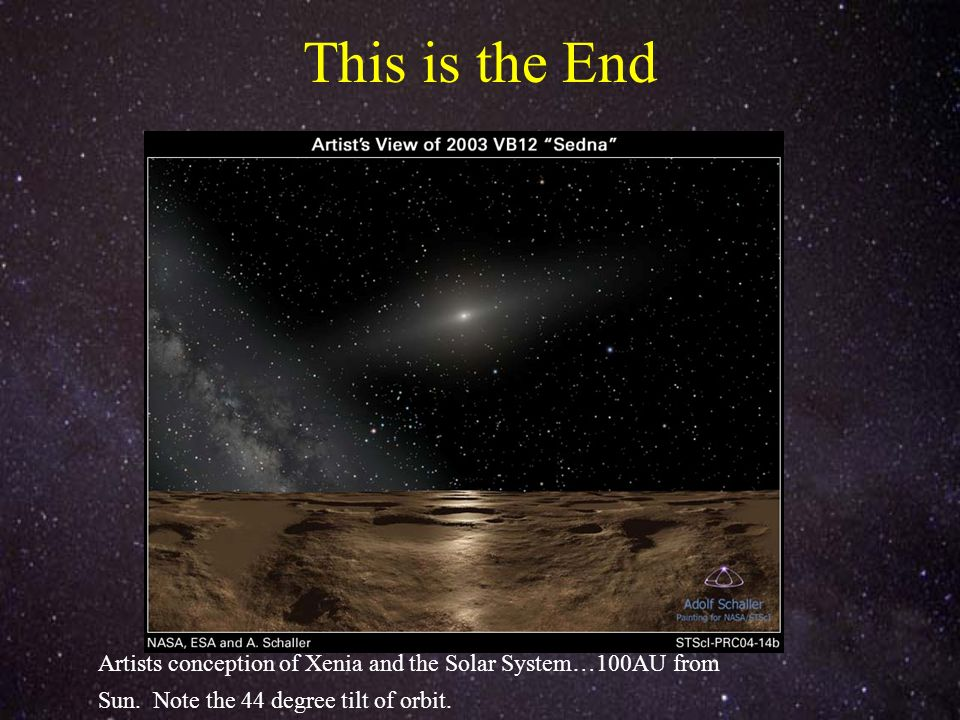 This is the End Image from APOD Image from APOD (credit and copyright Michael Wilson) Artists conception of Xenia and the Solar System…100AU from Sun.