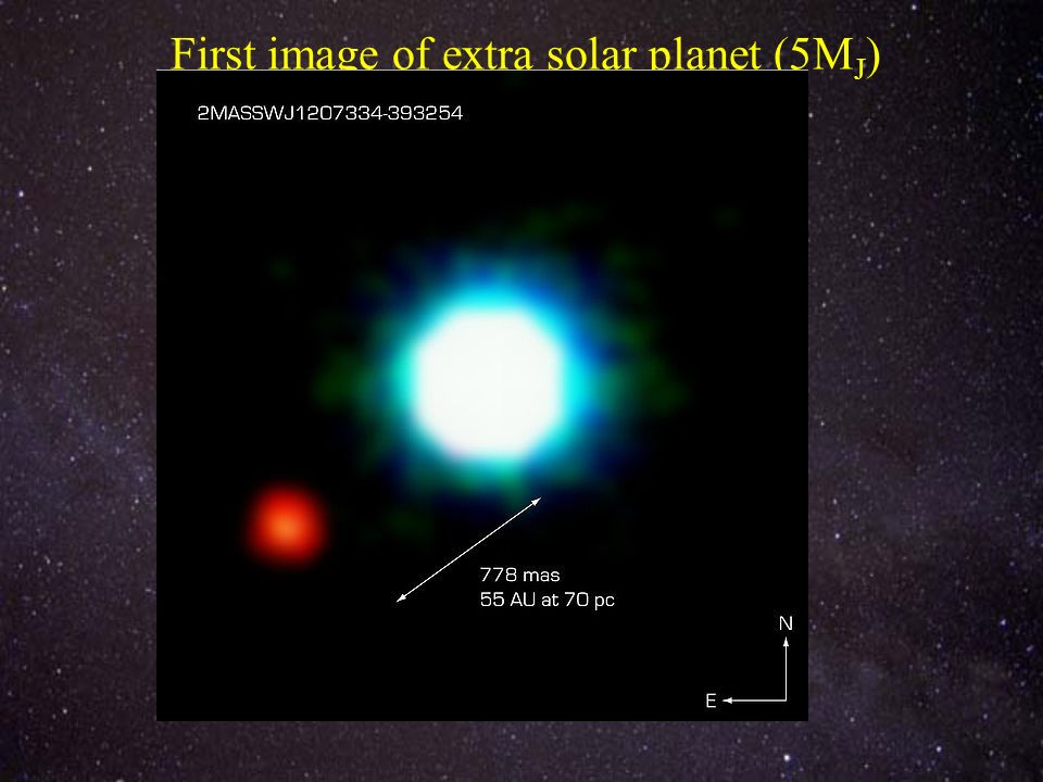 First image of extra solar planet (5M J )