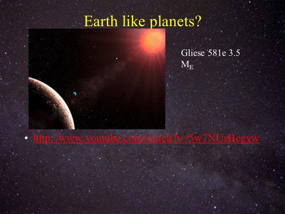 Earth like planets http://www.youtube.com/watch v=5w7NUsBcgyw Gliese 581e 3.5 M E