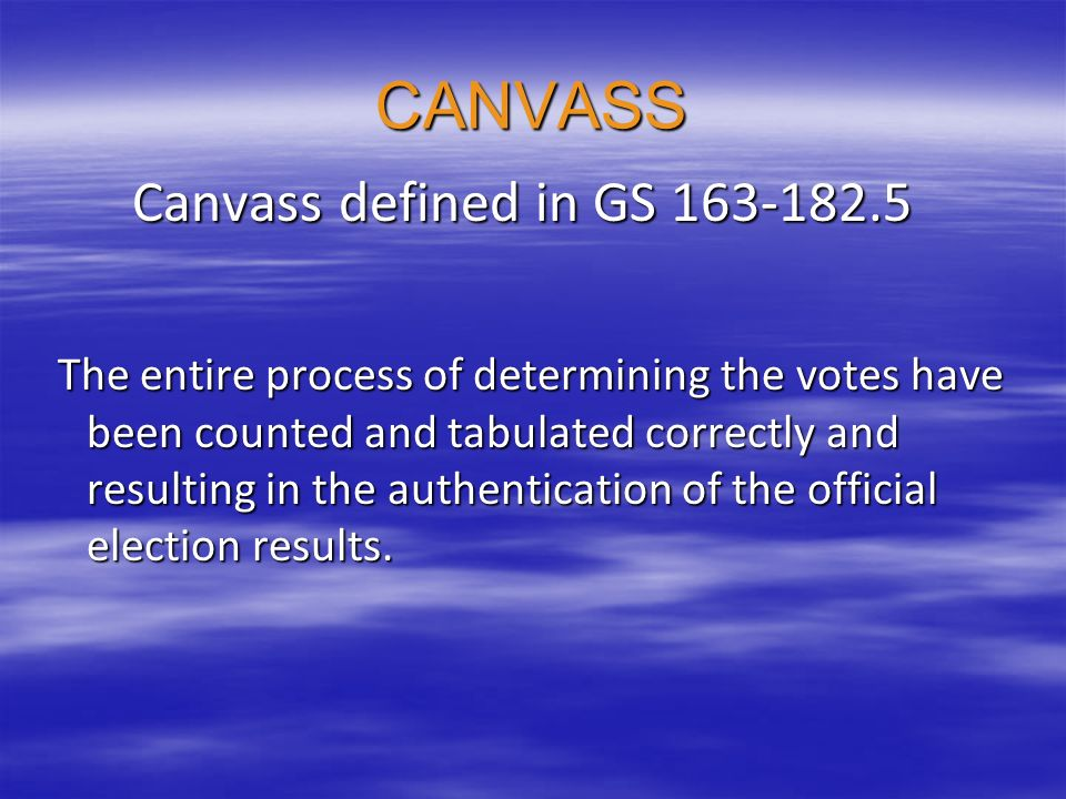 THE BOARD Conducting the canvass has authority: To send for papers To send for papers To send for persons To send for persons To examine them To examine them Pass on legality of disputed ballots Pass on legality of disputed ballots