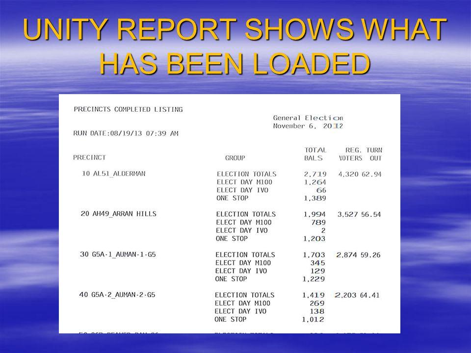 Unity ERM ReportsReports CanvassCanvass Precincts Completed ListingPrecincts Completed Listing Print Listing – Include GroupsPrint Listing – Include Groups